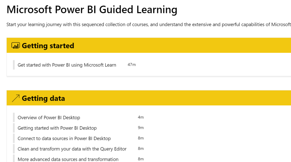 Microsoft Power Bi Guided Learning